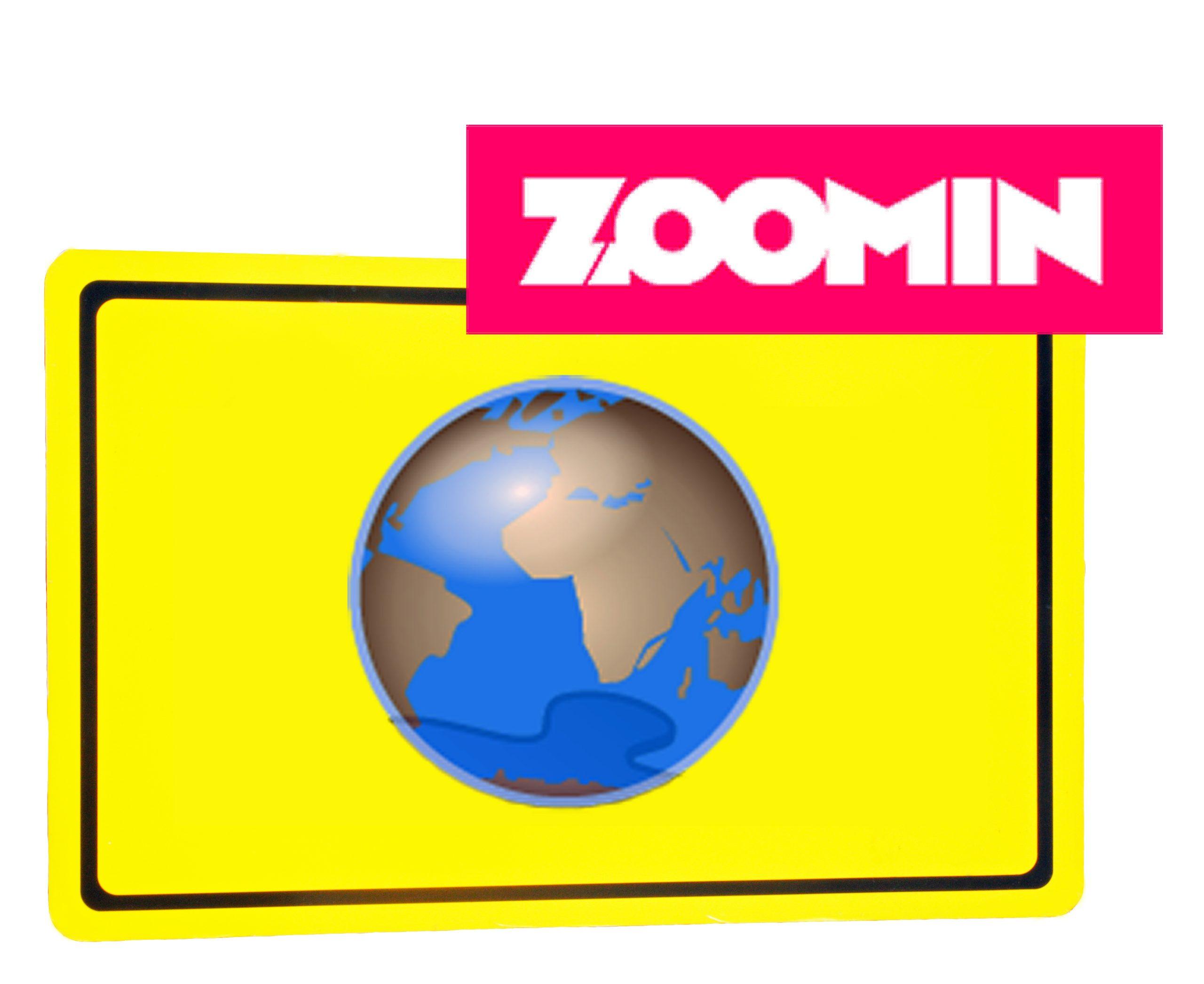"""Ortsschild mit Weltkugel und Logo """"zoomin.tv"""""""
