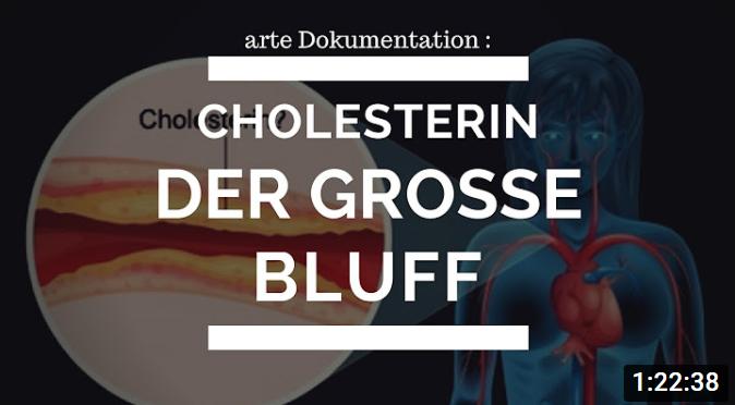 """Grafik mit Schrift """"Cholesterin - der große Bluff"""""""