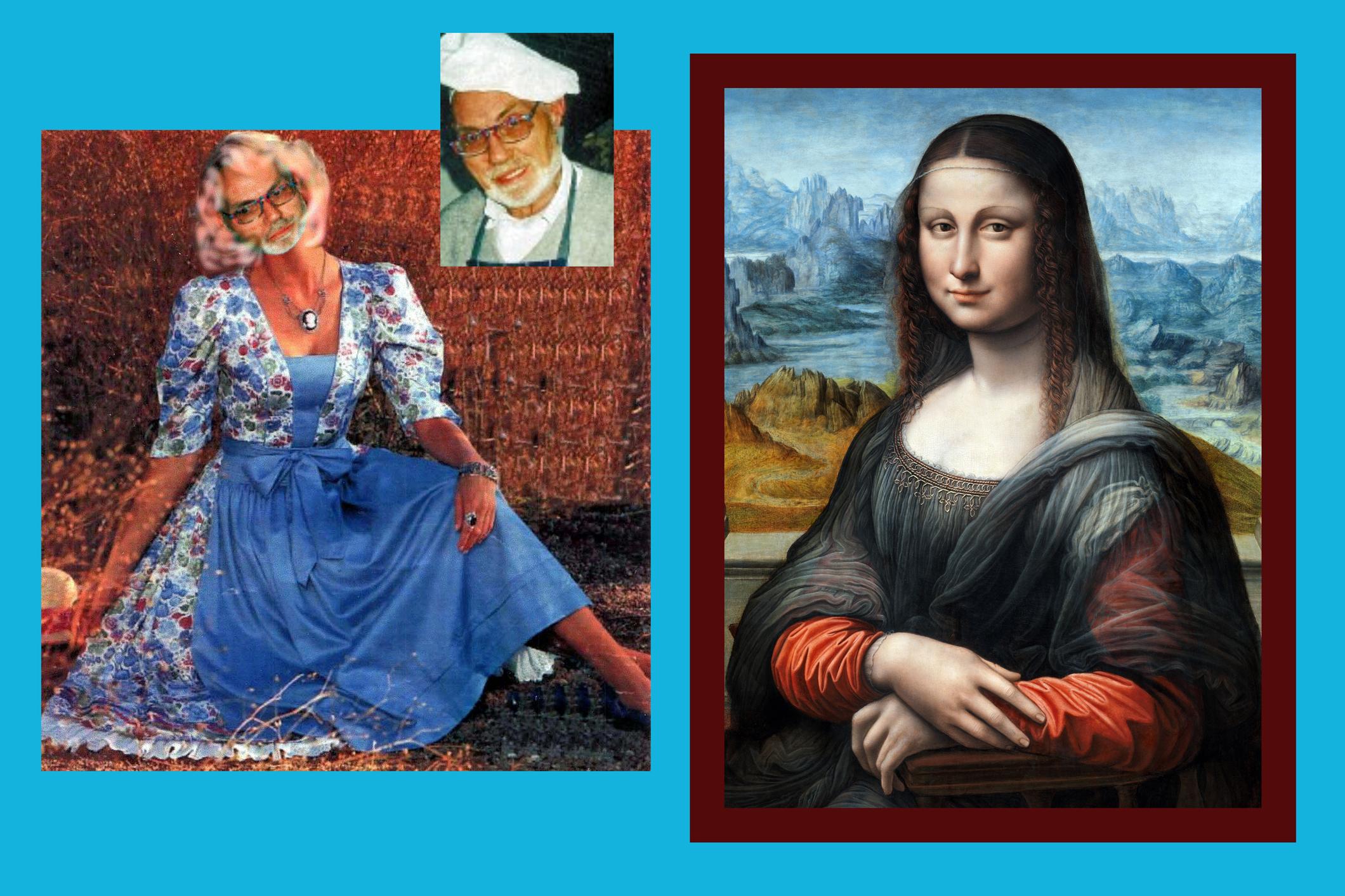 Mona Lisa einmal anders: Als Mann im Kleid mit Damenbart